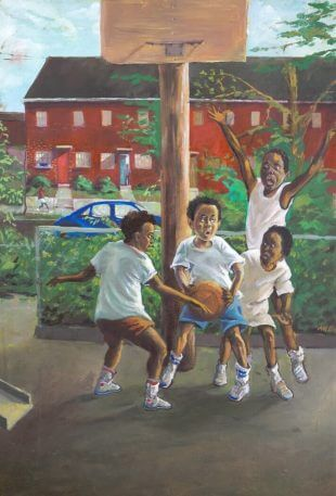 Oil painting of four African American young boys, in Clay Terrace NE, wearing over-sized white t-shirts are on a homemade court playing basketball.