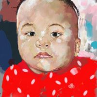 Digital Painting of a baby named Emory