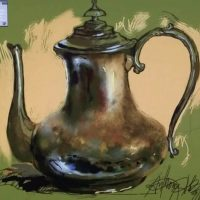 Digital Painting of a tarnished Silver pitcher